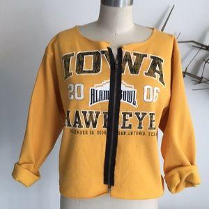 Karen Zambos deconstructed zip up sweatshirt